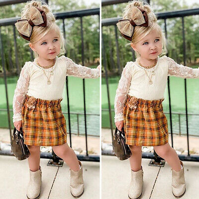 Toddler Kids Baby Girls Lace Tops Skirt Dress Summer  2PCS Outfits Clothes Set