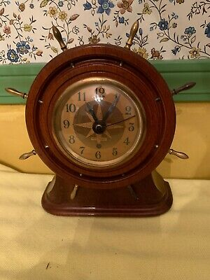 VINTAGE  Captains SETH THOMAS SHIP WHEEL WOOD & BRASS CLOCK Works Great