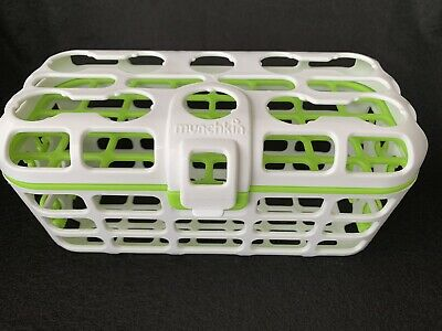 Munchkin Deluxe Dishwasher Basket Straw Cleaning Rack White Green