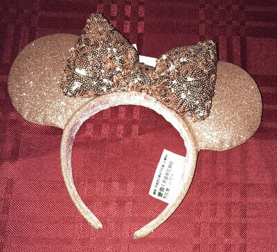 Disney Parks Rose Gold Minnie Mouse Sequin Bow Ears Headband New