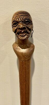 Antique Hand Carved African American Man W/ Earring Wooden Walking Stick Rare!