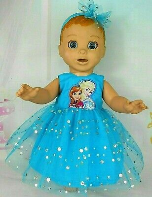 """Dolls clothes for 18"""" LUVABELLA  DOLL~FROZEN SISTERS AQUA TULLE PARTY DRESS"""