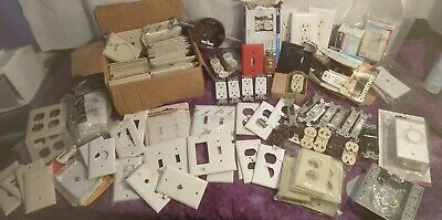 VINTAGE Modern LOT IVORY WHITE SWITCH PLATE OUTLET COVERS Outlets Lights Dimmer