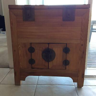 Antique Chinese Coin Money Wooden Chest