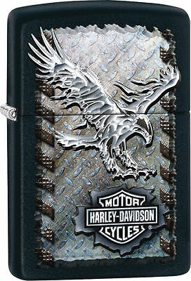Zippo 28485, Harley Davidson-Eagle, Black Matte Lighter, 6 Flints/Wick