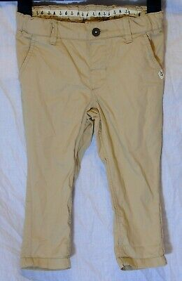 Baby Boys H&M Beige Adjustable Waist Chino Cotton Trousers Age 12-18 Months