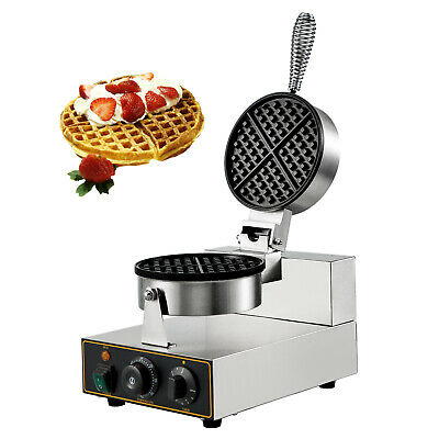 Electric Round Belgian Waffle Baker Maker Machine Threaded Handle Commercial