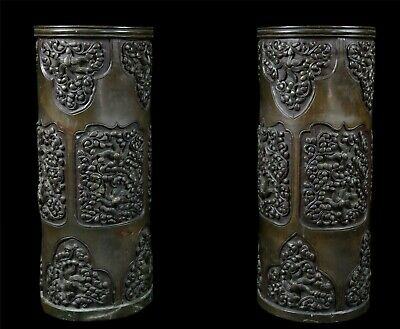 Antique Pair of Vases Bronze China Japan Issue Number Inventory of Collection