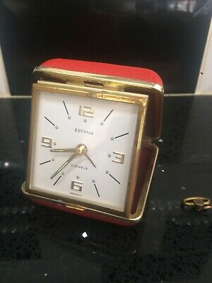 Working Vintage Estyma 2 Jewels Travel Clock In Red Casting