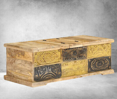 Rustic Wooden Chest Vintage Coffee Side Table Old Antique Storage Box Solid Wood