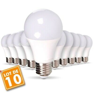 Lot de 10 Ampoules LED E27 9W eq 60W 806m Blanc froid