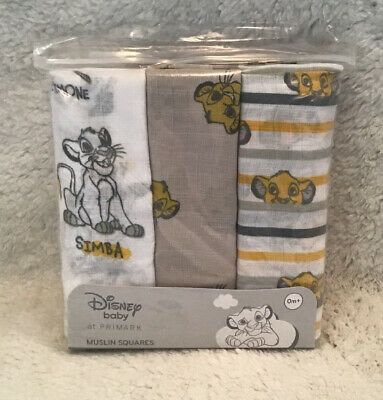 3x Unisex Primark Disney The Lion King Simba Baby Muslin Squares