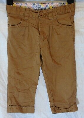 Girls Mothercare Brown Summer Cotton 3/4 Capri Cropped Trousers Age 5-6 Years