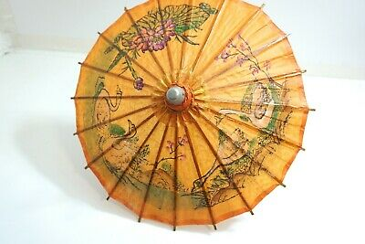 """Nos Vintage Chinese Hand Painted Flowers Swans Paper Umbrella Parasol 13 1/2"""""""