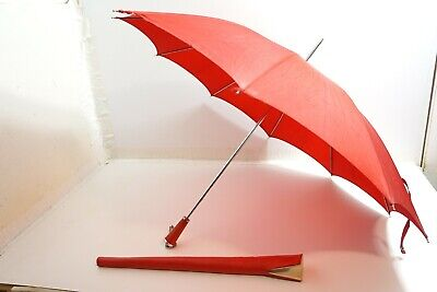 Vintage Red With Red Leather Wrapped Handle Umbrella Parasol With Leather Cover