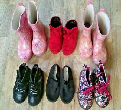 Bundle Of 6 Pairs Girls Kids Size 12 Shoes Ankle Boots Plimsolls Wellies Hi-Tops