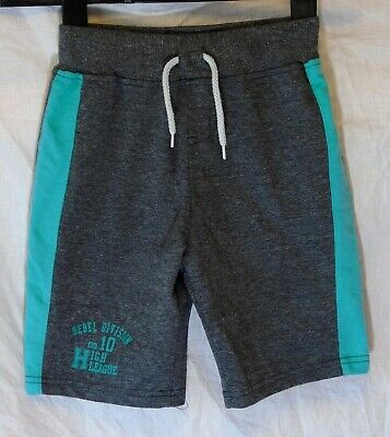 Boys Primark Grey Marl Green Elasticated Waist Comfy Jogger Shorts Age 6-7 Years