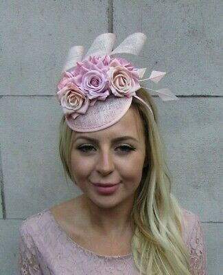 Blush Light Pink Floral Flower Feather Hat Hair Fascinator Races Wedding 8041
