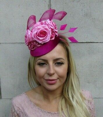 Fuchsia Cerise Hot Pink Rose Flower Feather Pillbox Hat Fascinator Grape 8042