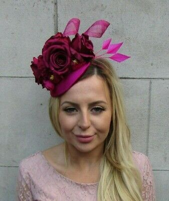 Fuchsia Burgundy Wine Red Hot Pink Flower Feather Hat Fascinator Races Hair 8043