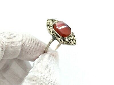 Antique Art Deco Sterling Silver Carnelian Stone & Marcasite Geometric Ring - P