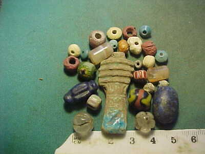 25 + ancient beads circa 1000 BC-1700 AD + Egyptian faience amulet.