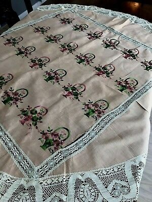 Vintage Embroidered Table Cover Set Tablecloth Runners Set of 5 Pink Flower Bask