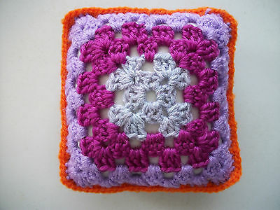 Mini Crochet Square Cushion/Pillow,Dolls house,Pincushion,Decorative,Purple,5""