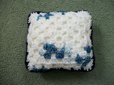 Mini Crochet Square Cushion/Pillow,Dolls house,Pincushion,Decorative,Blue/White