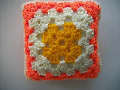 Mini Crochet Square Cushion/Pillow,Dolls house,Pincushion,Decorative,Orange,5""