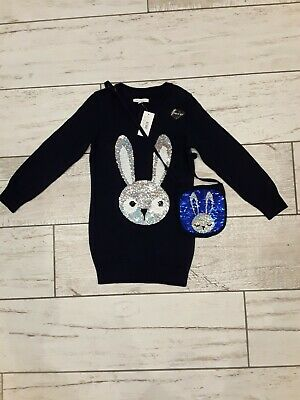Girls Debenhams Bluezoo jumper dress with matching bag 5-6 years new with tags