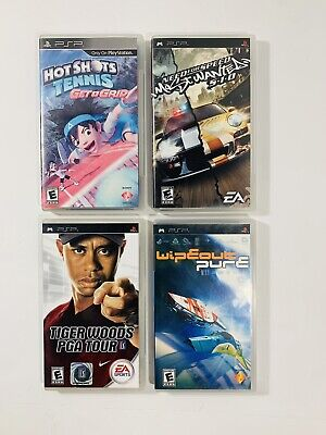 PSP LOT OF 3 Games Tennis, Tiger Woods PGA Tour, Wipeout Pure