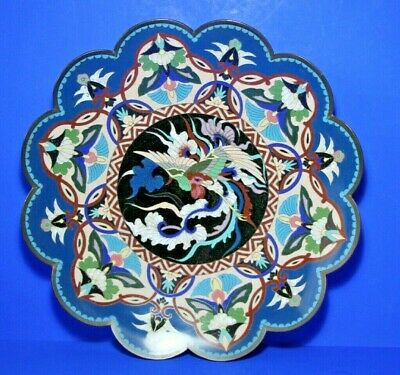 Stunning Antique Japanese Meiji Period Cloisonné Flower Head Plate