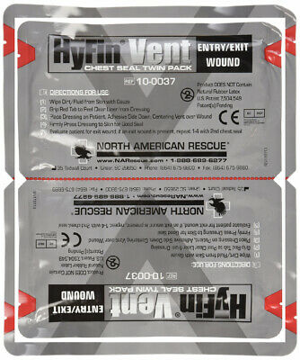 North American Rescue Hyfin Vent Chest Seal, 2 Count Original Version