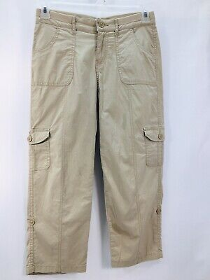 St Johns Bay Size 2 Womens Cargo Convertible Pants, Roll Up or Down, Khakis