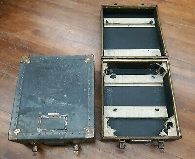 Vintage Pair Heavy Duty CONTINENTAL TRUNKS Suitcases Band Gear or Turntable Case