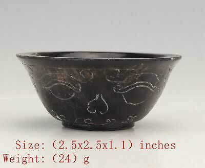 Rare Chinese Yak Horn Wine Cup Tea Bowl Hand Carved Pattern Handicraft Gift Old