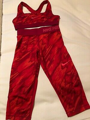 Girls Nike Pro red cropped leggings/top 8-10 yrs + 2 Calvin Klein cropped tops