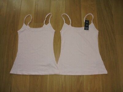 2 Pack Marks & Spencer Pale Pink Stretch Vest Tops With Staynew Uk Size 10