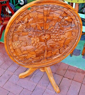 Antique Carved Asian Hawaiian Scene Wood Side Lamp End Table Glass Top Folding