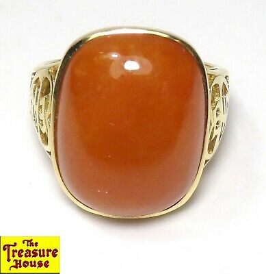 IWI Carnelian Cabochon Solitaire Chinese 爱 (ài) Love 14K Yellow Gold Ring Size 6
