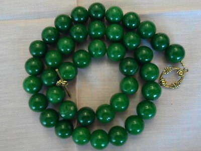 Antique Vintage Natural Chinese Jade Beads Necklace Dark Green 115 Grams !