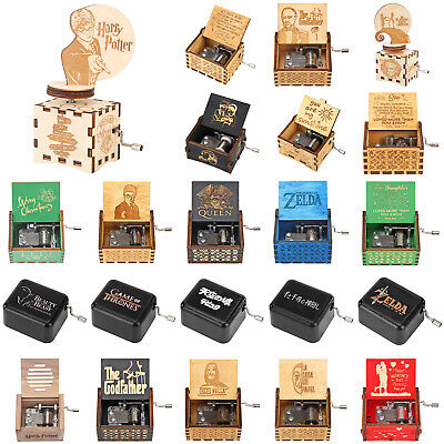 Retro Exquisite Wooden Hand Cranked Music Box Desktop Ornaments Kids Gifts Decor