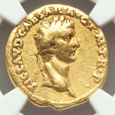 41-42 AD Rare Ancient Gold Roman Empire Coin of Claudius AUREUS NGC CH FINE