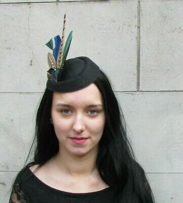 Black Navy Blue Green Peacock Pheasant Feather Pillbox Hat Fascinator Races 8050