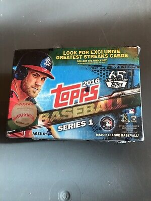 2016 Topps Baseball Series 1 Blaster Box 10 packs & 1 MLB Debut Medallion Card