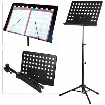 Portable Telescopic Tripod Stand Orchestral Sheet Music Holder Plate With Clamp
