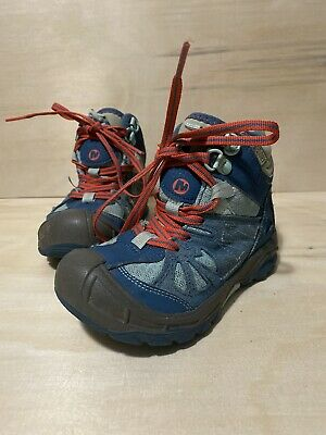 Merrell Capra Mid Blue Waterproof Hiking Boots Girls 10.5 M Boys Kids Youth