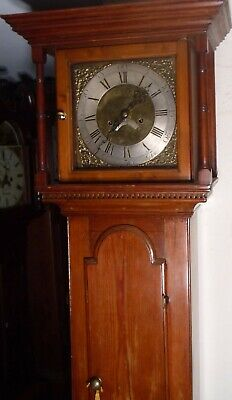 "Antique Pine  Brass  Dial "" Wrexham ""   Longcase / Grandfather Clock"