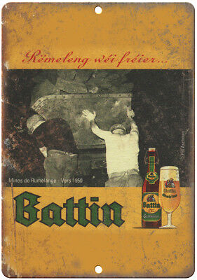 "Battin European Vintage Beer Ad 10/"" x 7/"" Reproduction Metal Sign E255"